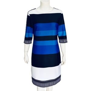 SANDRA DARREN | Striped Midi Dress 3/4 Sleeves 6